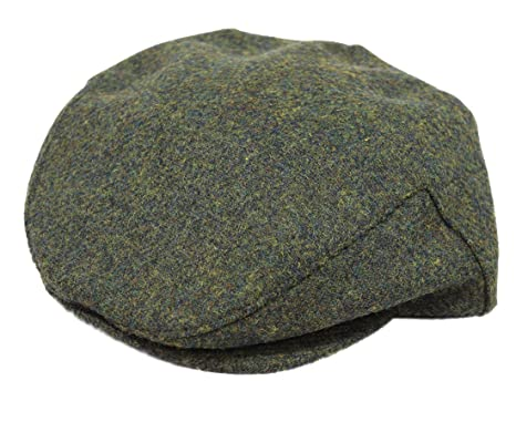 3657ec18 John Hanly & Co Flat Irish Hat 100% Wool Green Herringbone Made in Ireland  Small