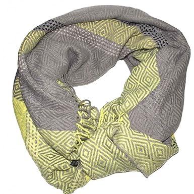 Primtex Grande écharpe plaid femme laine douce   motif losange triangle- f40dd7bd5dc