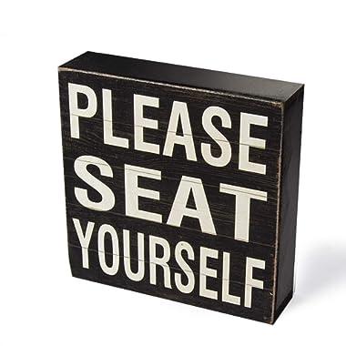 Yankario Farmhouse Funny Bathroom Signs Decor, Classic Wooden Box Sign 6  Square, Black/White Please Seat Yourself
