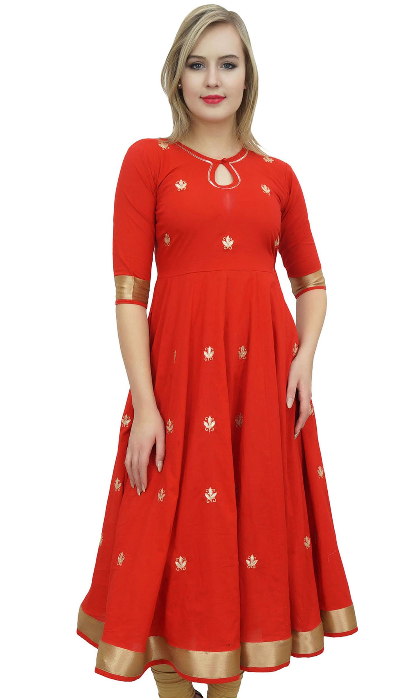 Bimba Designer Red Anarkali Kurta Indian Ethnic Gota Work Cotton Kurti-10