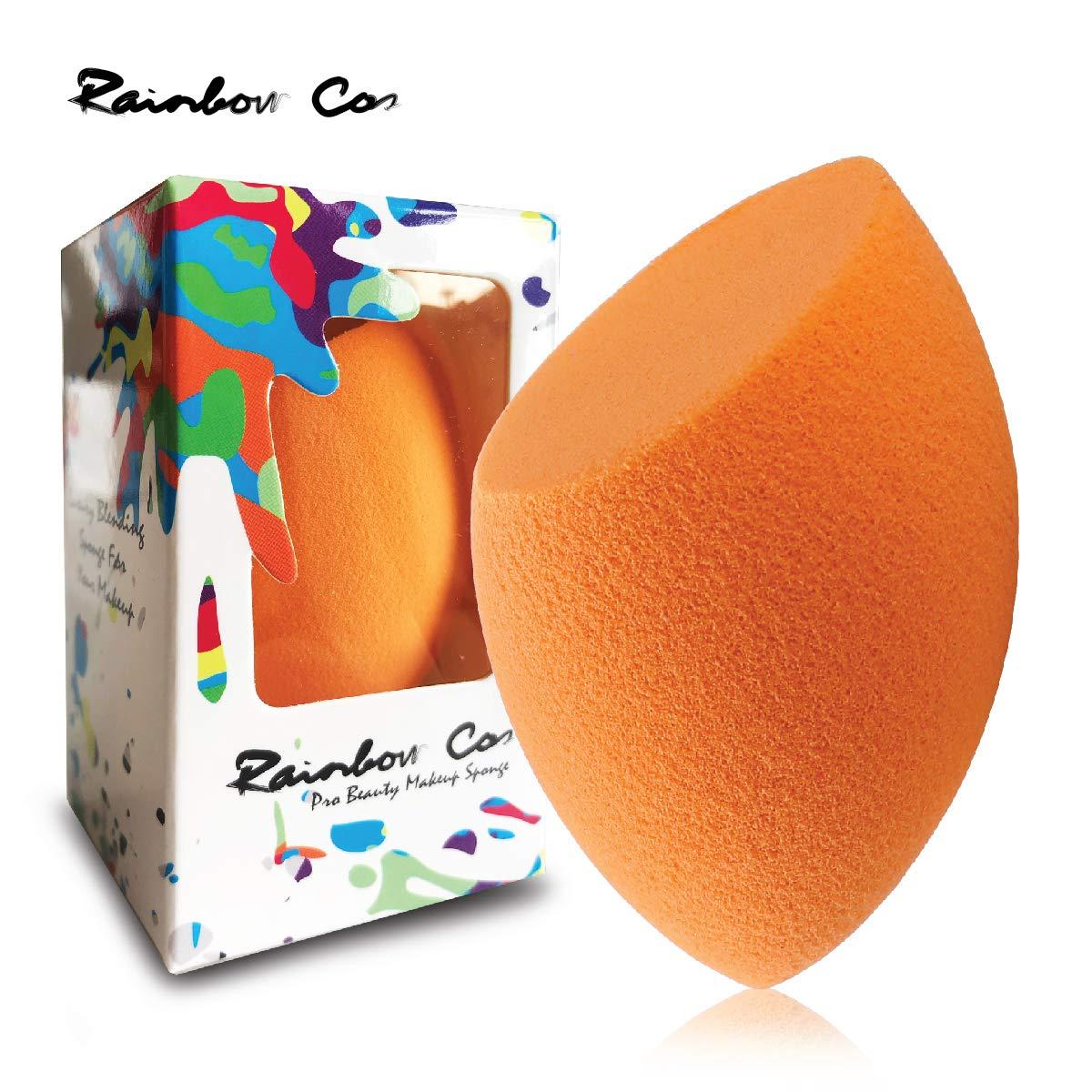 Rainbow Cos Premium Flat Edge Olive Sponge Beauty Foundation Sponge Blender for Applicator, Foundation and Highlight (Orange)