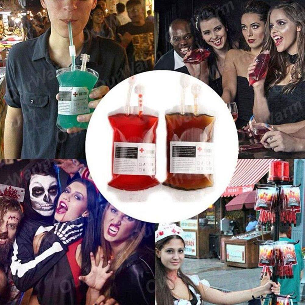 KANKOO Sacca di Sangue Oggetti di Scena Puntelli del Sacchetto del Vampiro di Halloween della Borsa di Bevanda Energia Sanguigna Riutilizzabile del PVC del Chiaro Materiale Medico Trasparente