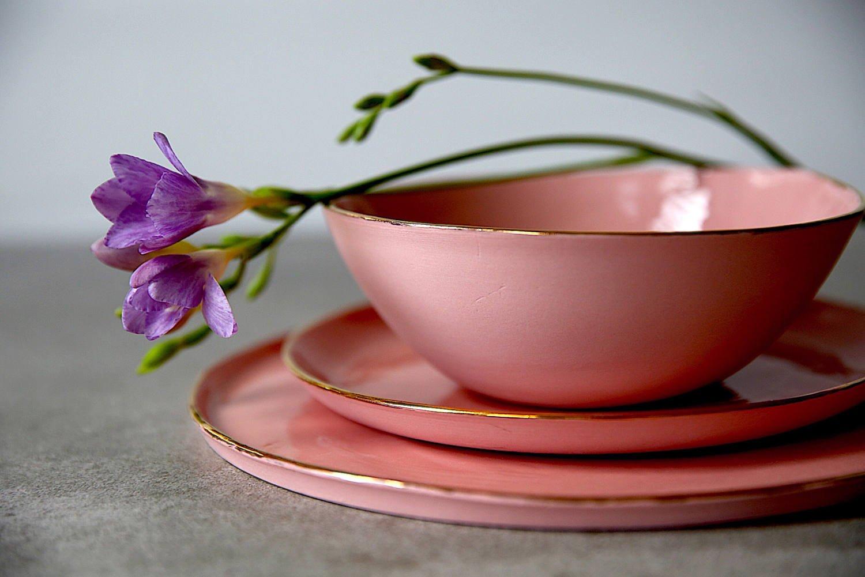 Pink porcelain and 14K gold rim modern dinnerware set of 3 - soup bowl, dinner plate, dessert plate by SinD studio