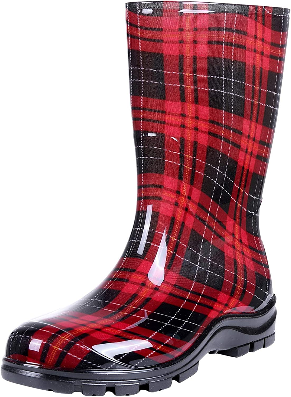 Women's Mid Calf Rain Boots Short Waterproof Garden Shoes