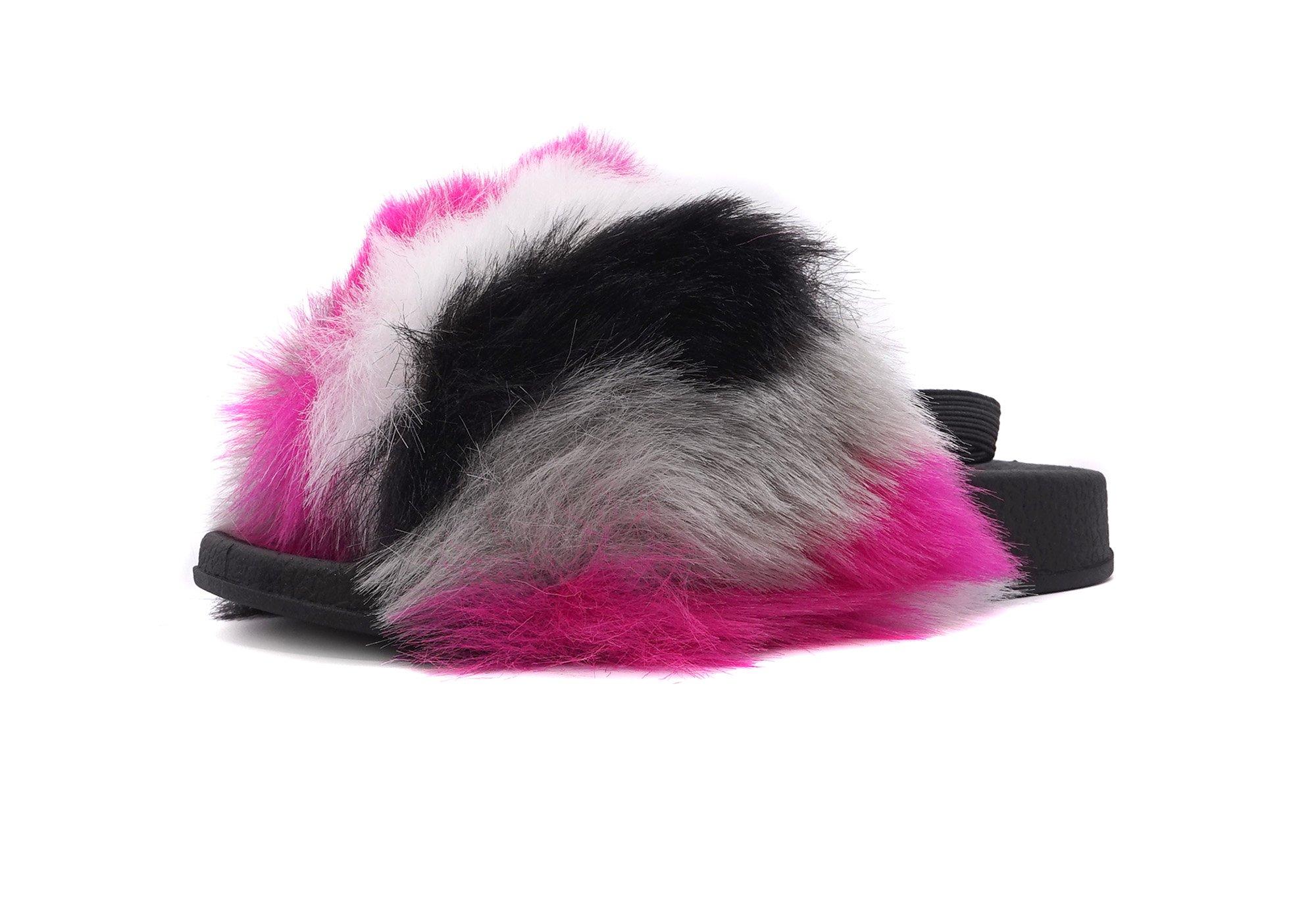 Simply Petals Kids' Fur Slip On Slide Sandal Slippers (8 M US Toddler, Pink)
