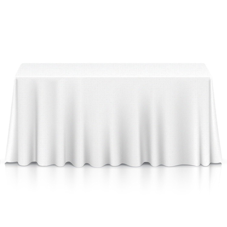 "Lann's Linens - 90"" x 132"" Premium Tablecloth for Wedding/Banquet/Restaurant - Rectangular Polyester Fabric Table Cloth - White"