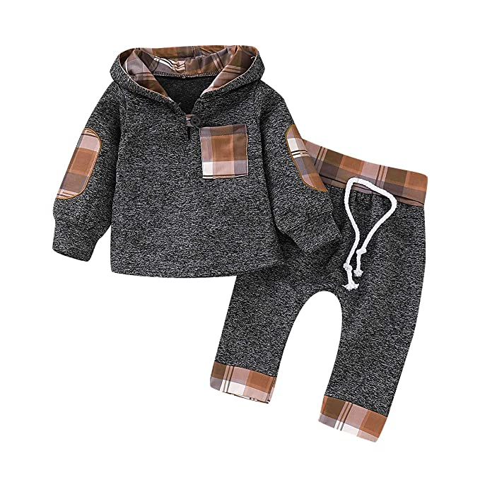 0849798f CPEI Toddler Infant Baby Boys Deer Long Sleeve Hoodie Tops Sweatsuit Pants  Outfit Set (Khaki