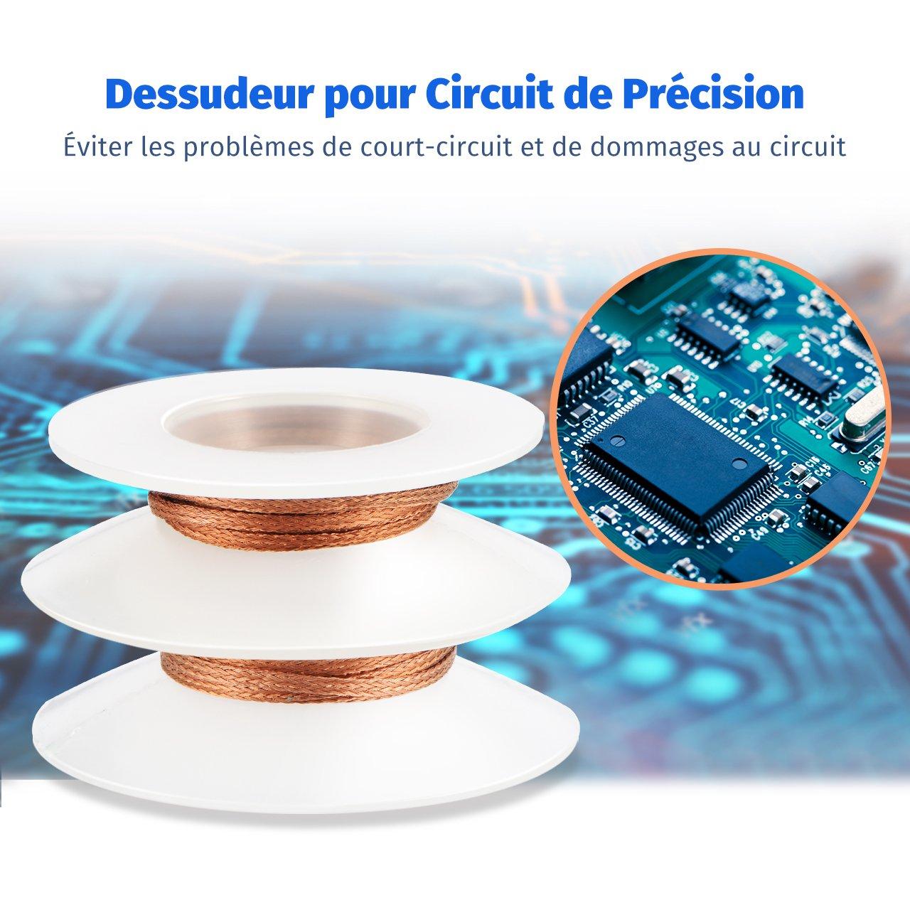 VicTsing Pompe /à dessouder Enl/èvement de Soudure de Cartes de Circuits Imprim/és avec 2 Tresses /à Souder Entretien de Lappareil et Plus