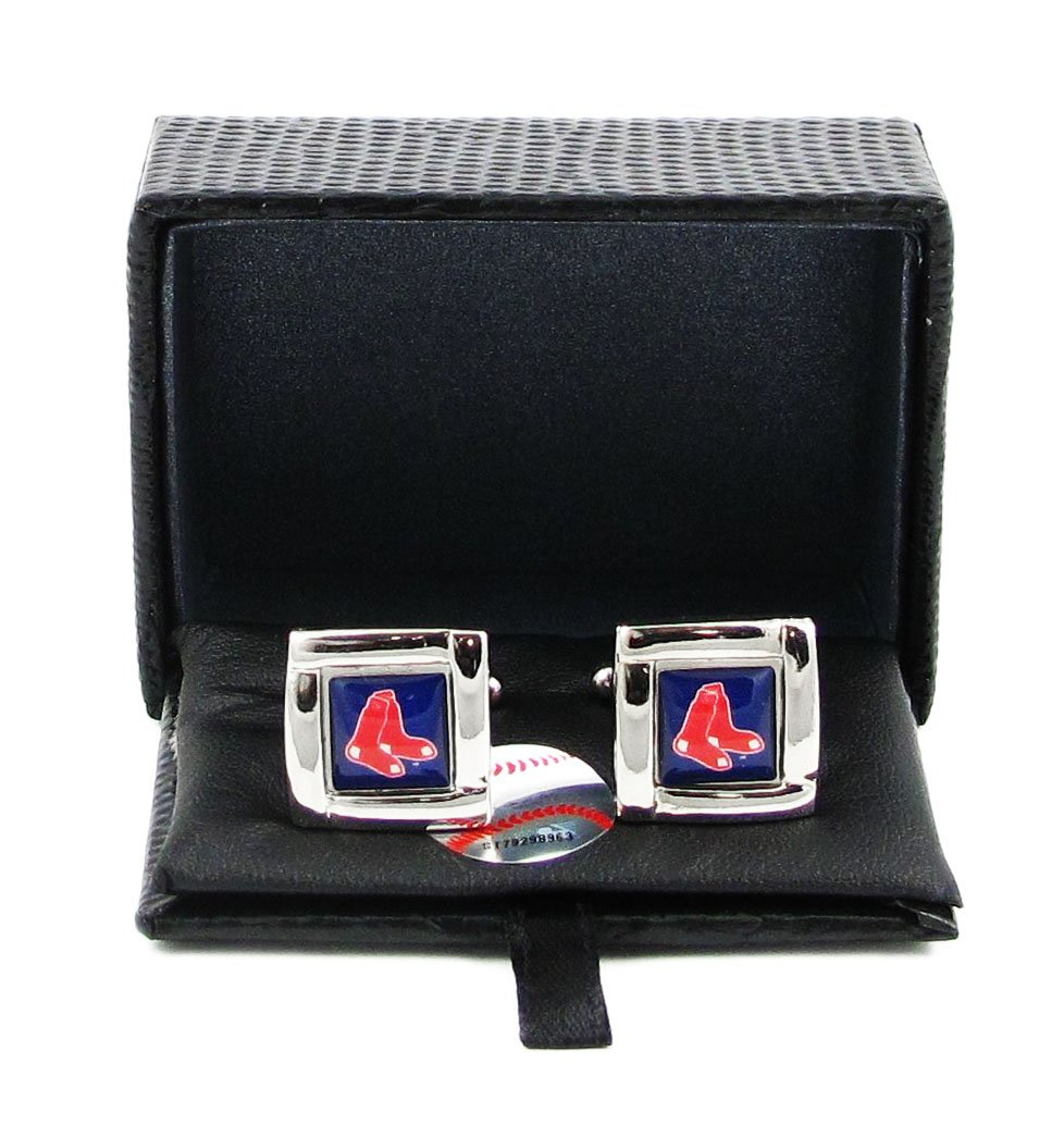 Aminco International MLB Boston Red Sox Team Logo Square Cufflinks Gift Box Set