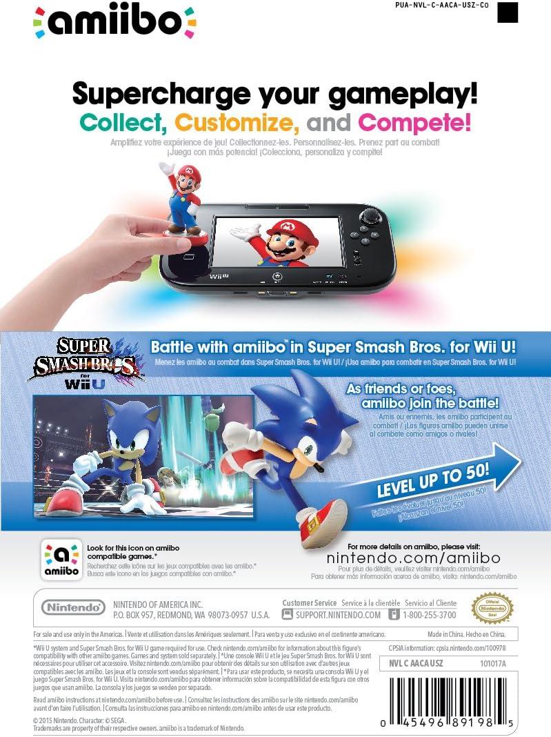Sonic Amiibo Wii U Super Smash Bros Series Edition Amazon Ca Computer And Video Games