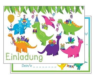 Set: 15 Einladungskarten Kindergeburtstag: Dinosaurier  Geburtstagseinladungen Einladungen Geburtstag Kinder Jungen Mädchen (15  Karten