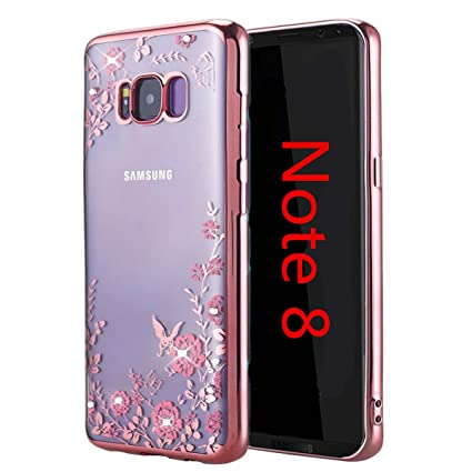 buy online d13f5 3bfc7 Galaxy Note 8 Case,Inspirationc [Secret Garden] Rose Gold and Pink TPU  Plating Clear Shiny Cover Series for Samsung Galaxy Note 8--Swarovski