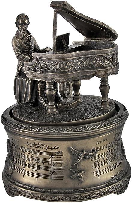 Bronce Acabado Mozart the Magic flauta Spinning caja de música ...