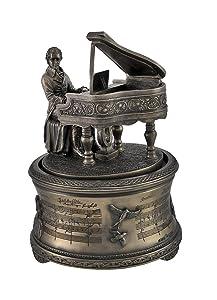 "Bronzed Finish Mozart ""The Magic Flute' Spinning Music Box"