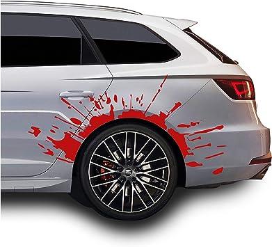 Finest Folia Set Blutspritzer Für Radlauf Auto Radkasten Blutige Aufkleber Blut Spritzer Autoaufkleber Blutspuren Folie Horror Fun Sticker Kx025 Kx066 Rot 2er Set Blutspritzer Auto