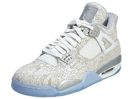 55caeb01c39841 Nike Mens Air Jordan 4 Retro Laser White Chrome-Metallic Silver Leather  Basketball Shoes  Amazon.ca  Shoes   Handbags