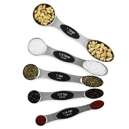 samvi magnético cucharas medidoras conjunto de 5 acero inoxidable ...