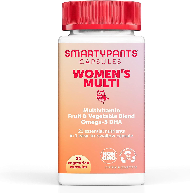 SmartyPants Multivitamin for Women; Omega-3 DHA; Zinc for Immunity; Biotin, Iron, Folate; Vitamins D3, C, B6; Vitamin B12 for Energy; Vegetarian (30 Day Supply): Health & Personal Care