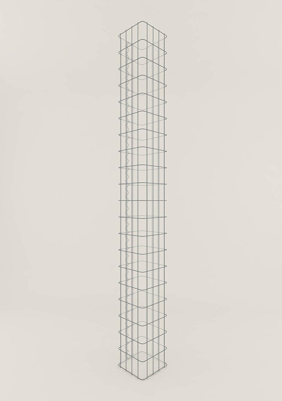 Säule Steinkorb-Gabione eckig, Maschenweite 5 x 10 cm, Höhe 230 cm, Spiralverschluss, galvanisch verzinkt (22 x 22 cm)