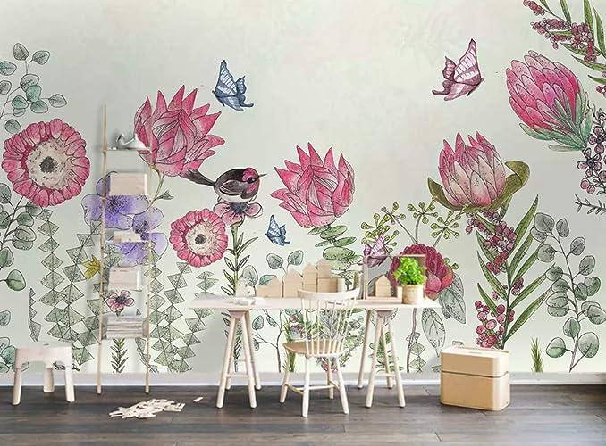 Amazon.com Murwall Floral Wallpaper Pink Flower Wall Mural