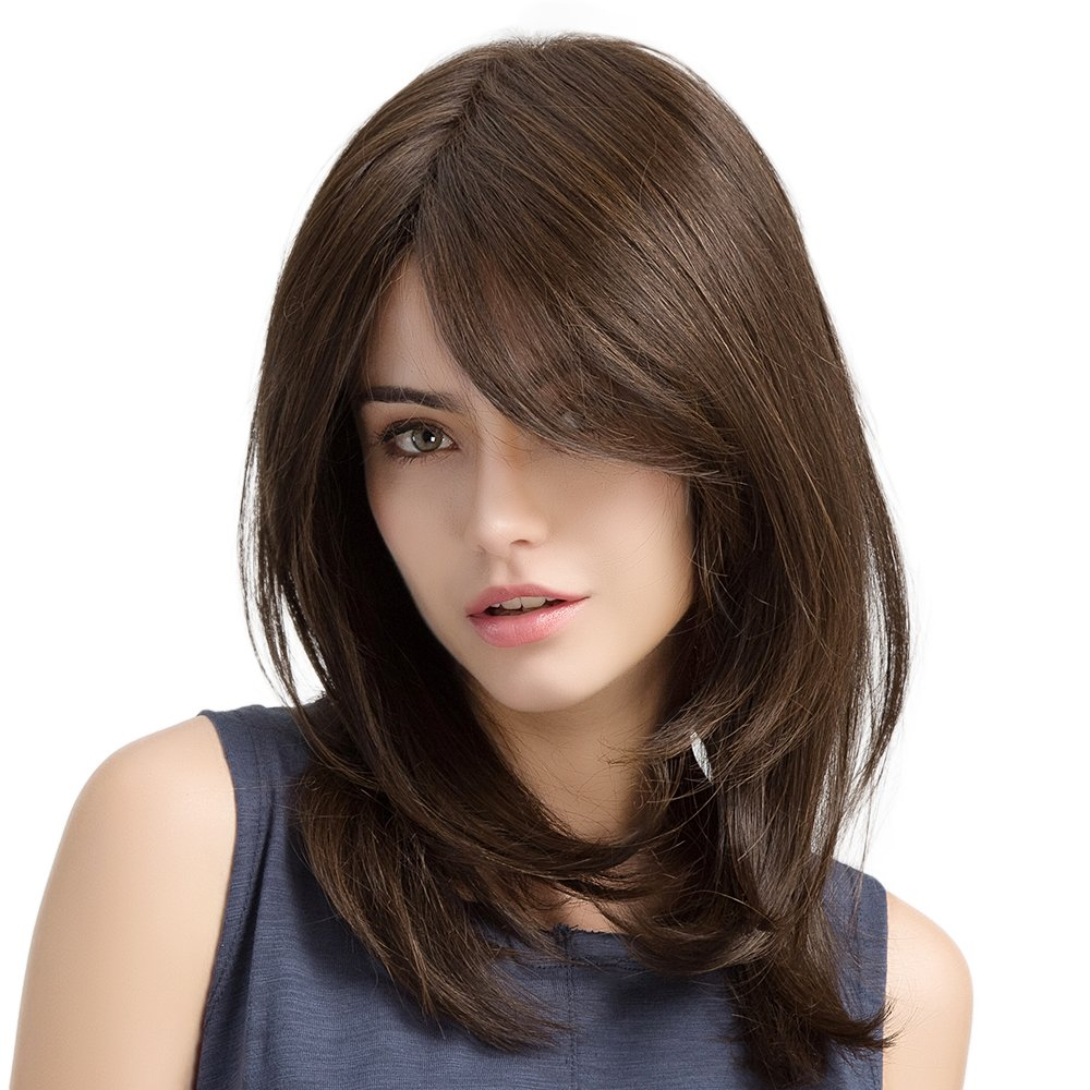 20'' Long Straight Wigs for Women, Charming Daily Use Natural Hair Wigs (Brown)
