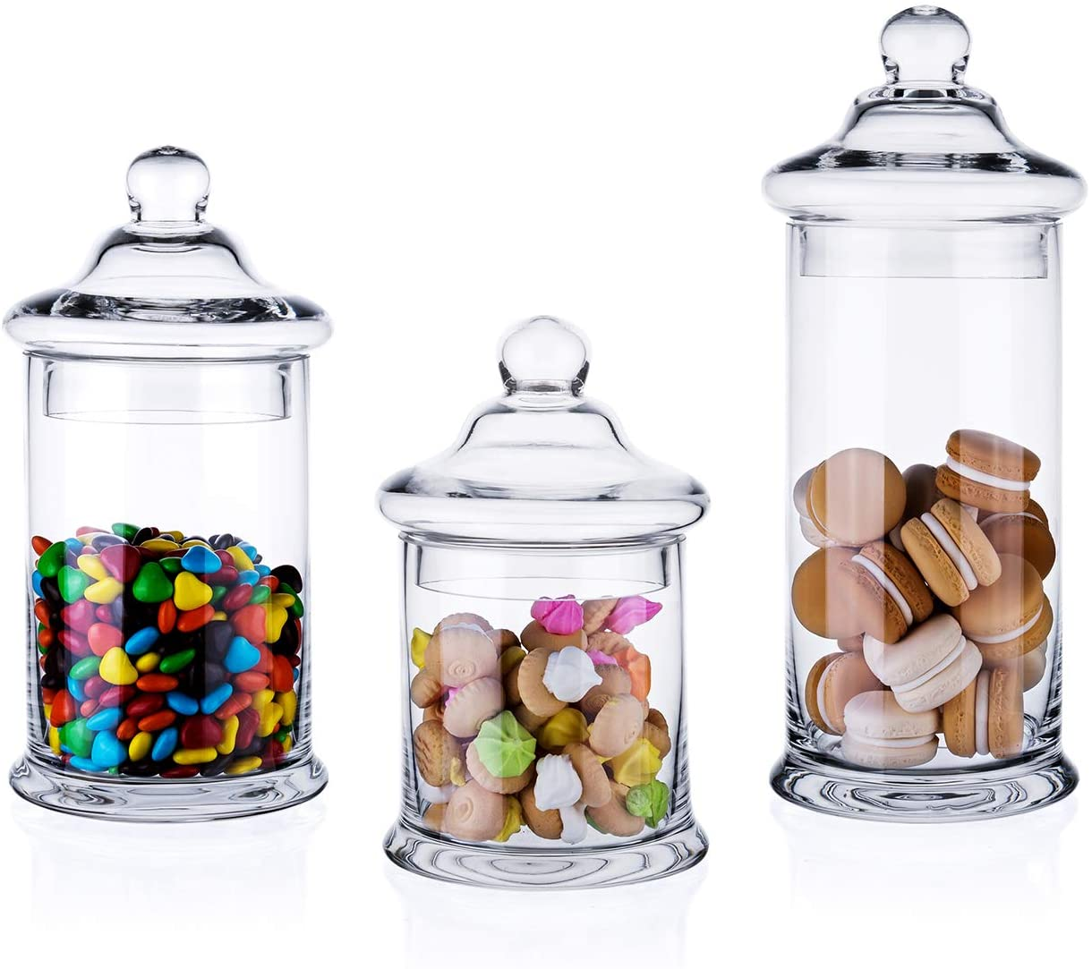 "Diamond Star Set of 3 Clear Glass Apothecary Jars Elegant Storage Jar with Lid, Decorative Wedding Candy Organizer Canisters Home Decor Centerpieces (H: 11"", 8.5"", 7.5"" D: 5"")"