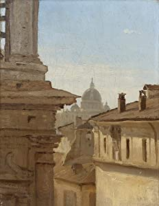 Jean Baptiste Camille Corot Giclee Print On Canvas-Famous Paintings Fine Art Poster-Reproduction Wall Decor(View Of The Rooftops Of Rome With St. Peter's Basilica)Large Size 30.2 x 39inches