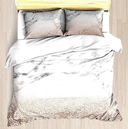cca045206d2ae Rose Gold Glitter on Marble - Duvet Cover Set Soft Comforter Cover  Pillowcase Bed Set Unique