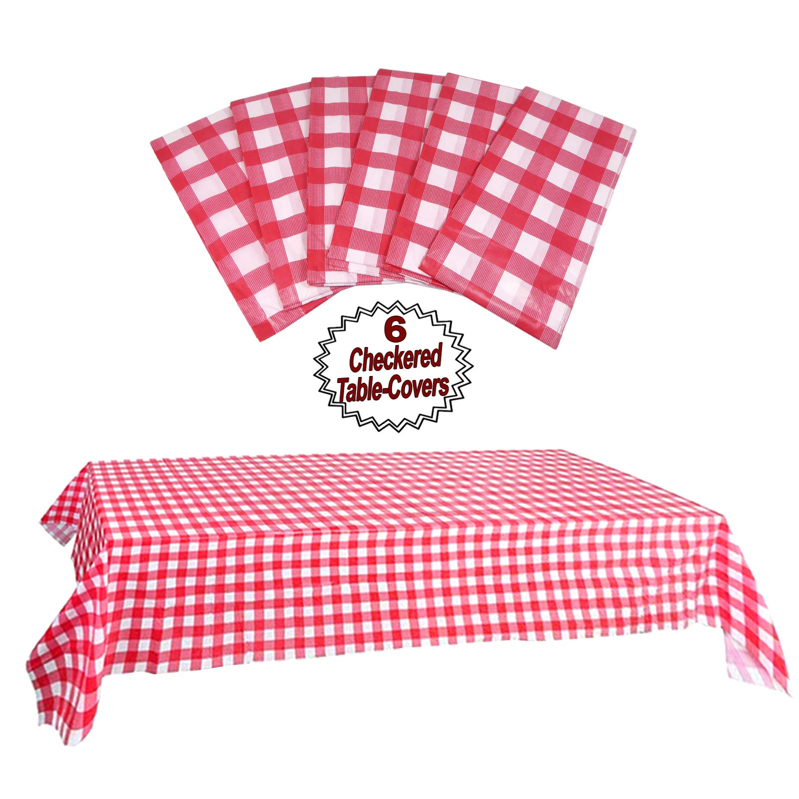 Plastic Checkered Tablecloth | 6 Pcs Pack - 54'' Wide x 108'' Long | Red and White Picnic Disposable Table Cover | Rectangular Gingham Tablecover for Birthdays, Carnivals, Parties | By Anapoliz by Anapoliz (Image #4)