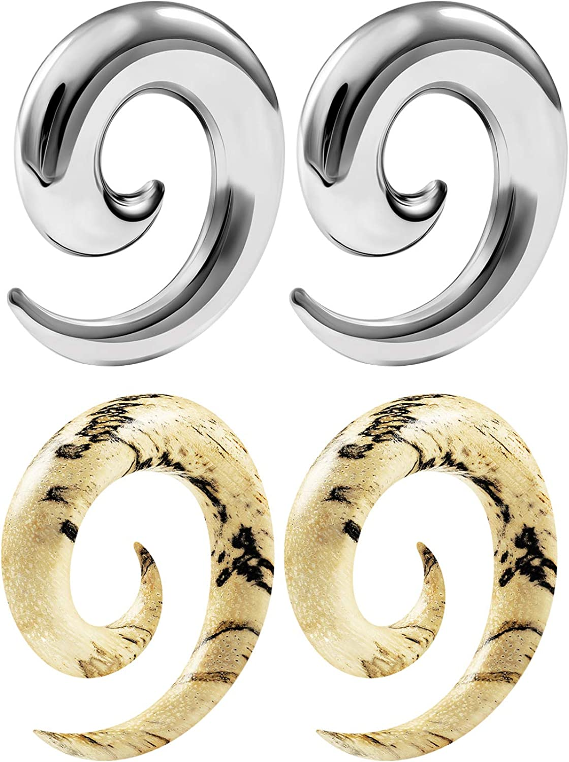 """PAIR-Tapers Spiral Wood Look Acrylic 12mm//1//2/"""" Gauge Body Jewelry"""