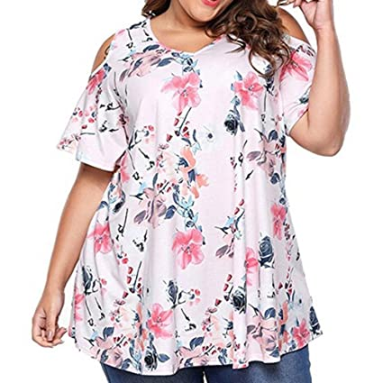 Womens Plus Size Tops, Floral Print Cold Shoulder T Shirt ANJUNIE Short Sleeve Blouse at Amazon Womens Clothing store: