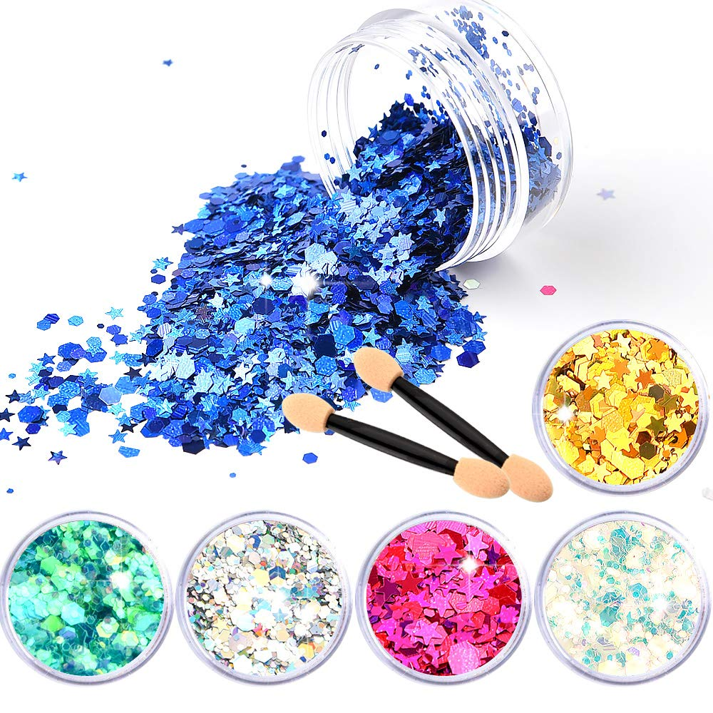 FEPITO Chunky Glitter Face Glitter For Hair Body Face and Nails Decoration(6 Colour)