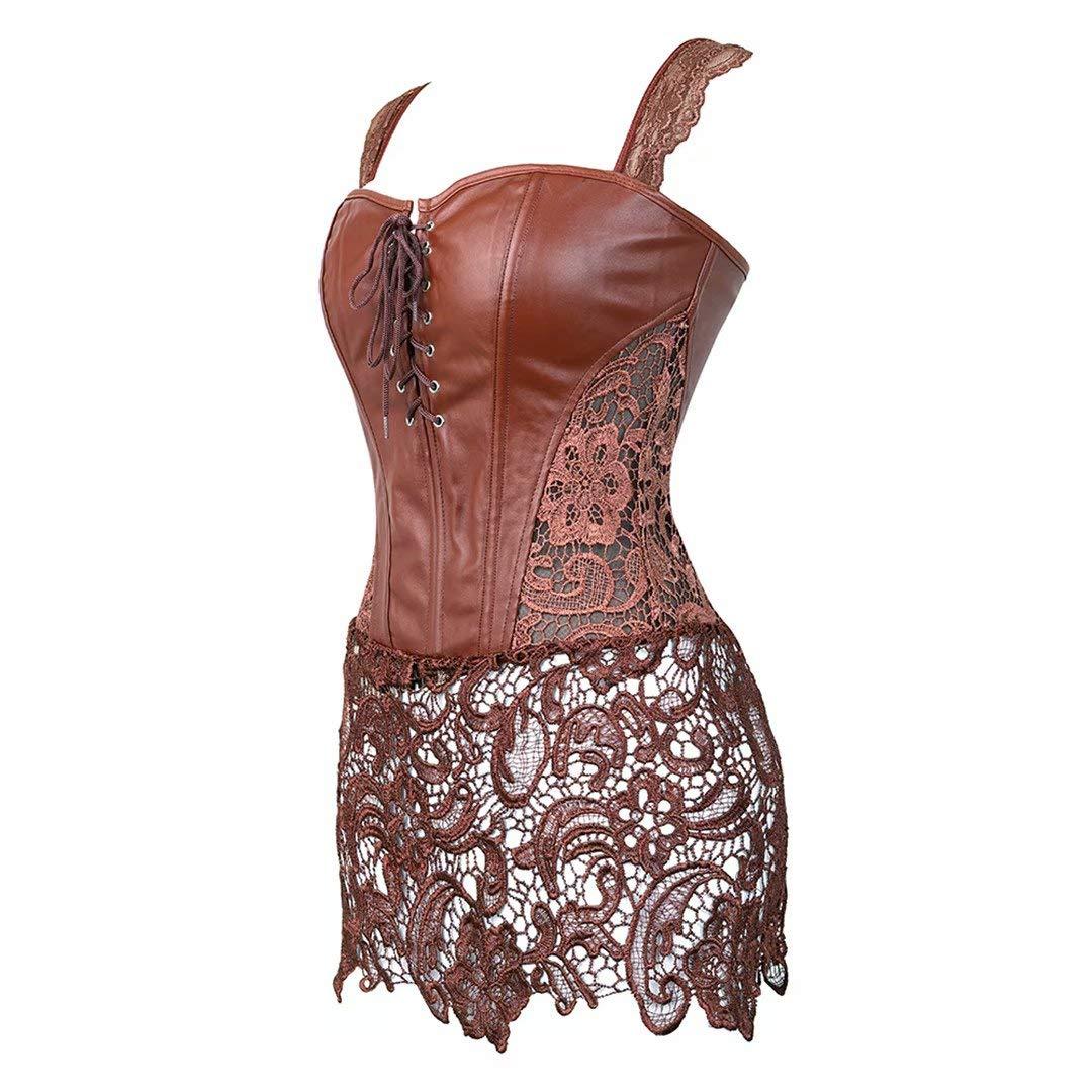 Womens Faux Leather Corset Bustier Waist Cincher Basque Plus Size