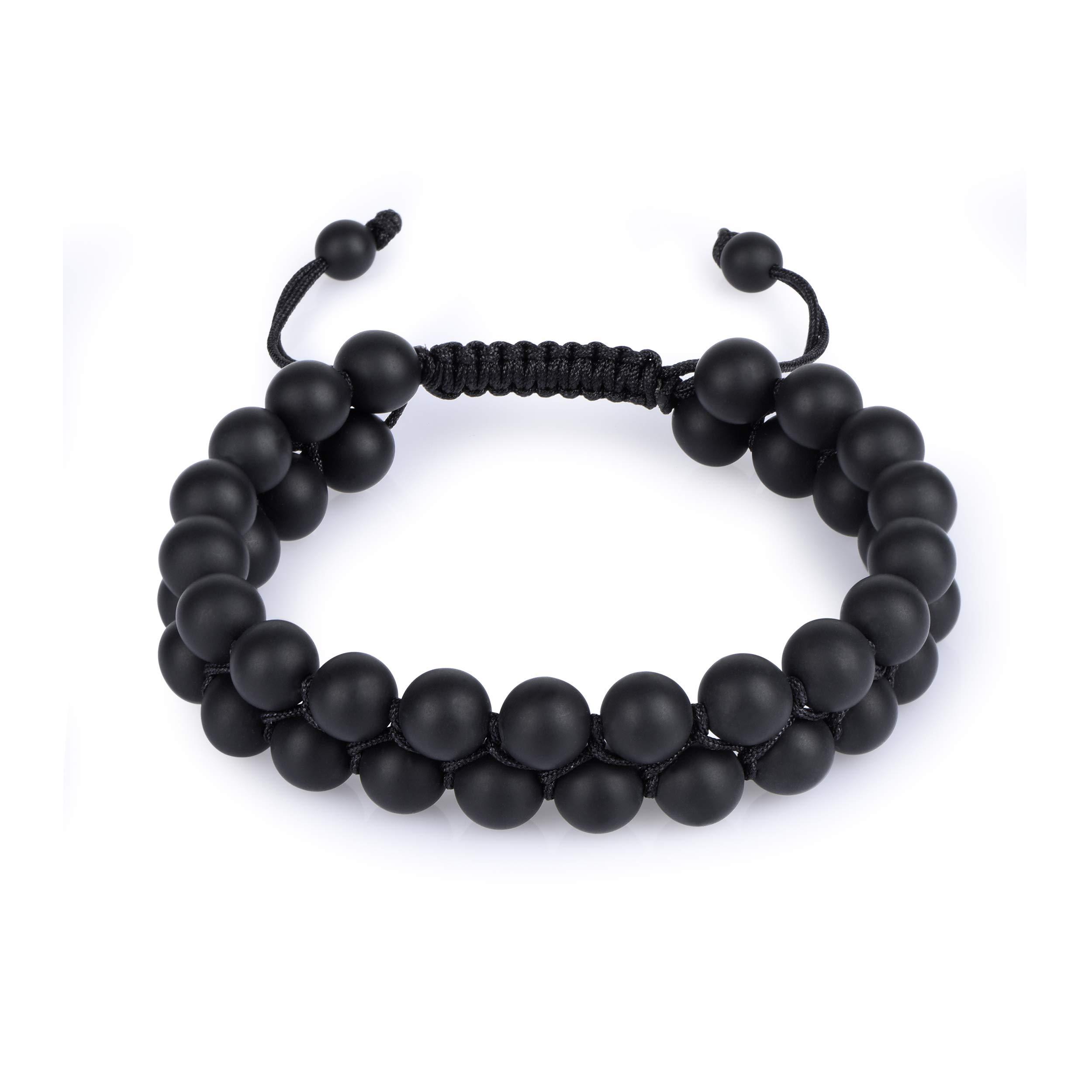 HASKARE Tiger Eye Stone Bracelet Men Women - Natural Energy Stone Essential Oil Lava Rock Black Onyx Tiger Eye Beads Bracelet Adjustable Couples (Onyx)