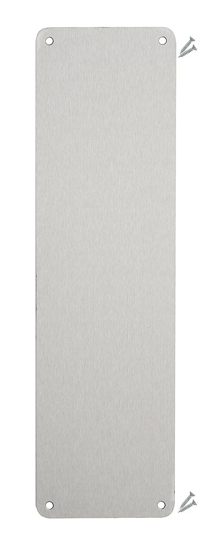Placa de empuje para puerta de acero inoxidable satinado, 350 x 75 mm, 1,2 mm, grado 430, esquina de radio, fijaciones incluidas, IVA registrado Fire Door Guru