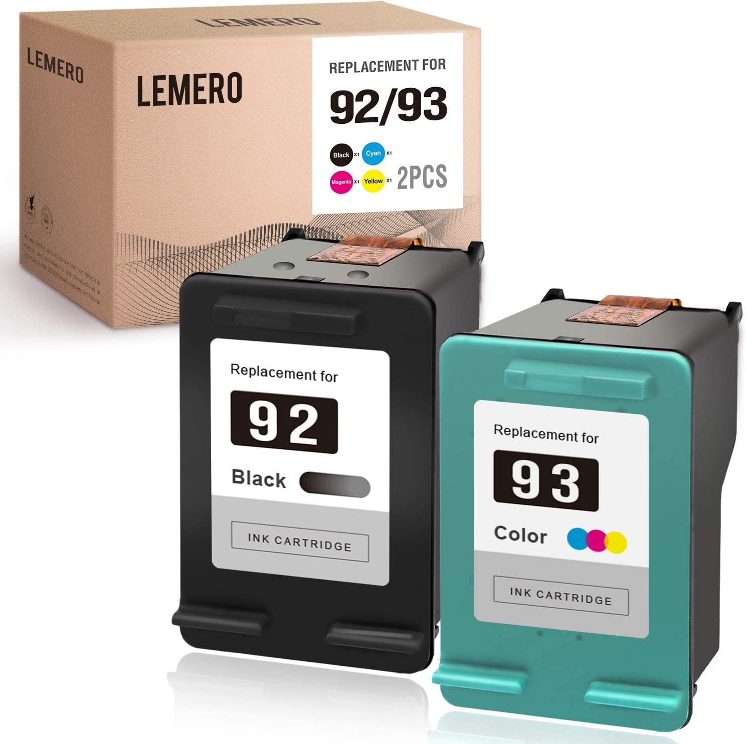 LEMERO Remanufactured Ink Cartridges Replacement for HP 92 93 C9362WN C9361WN to use with DeskJet 5440 5420 PSC 1510 1507 PhotoSmart 7850 C3100 C3110 C3125 (1 Black 1 Tri-Color)