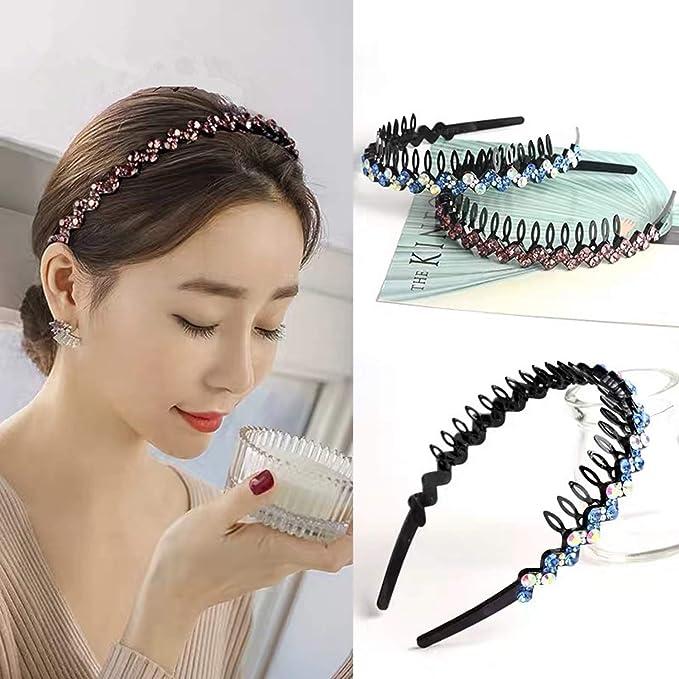 3-Row Cristallo Diamante Gem Nero Cerchietto in Plastica Nera Con Grip Pettine Hairband