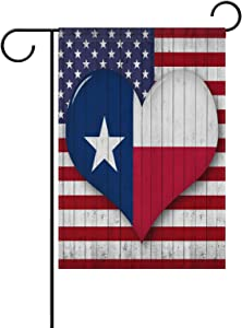 ALAZA America Flag Pattern Heart-Shaped Texas Garden Flag Home Polyester Fabric Welcome House Yard Banner,12x18 Inch