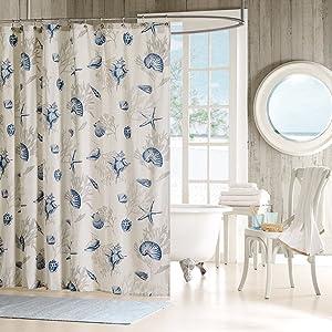Madison Park Bayside Shower Curtain Coastal Printed 100% Cotton Sateen Fabric Modern Casual Home Bathroom Decorations, 72x72, Blue