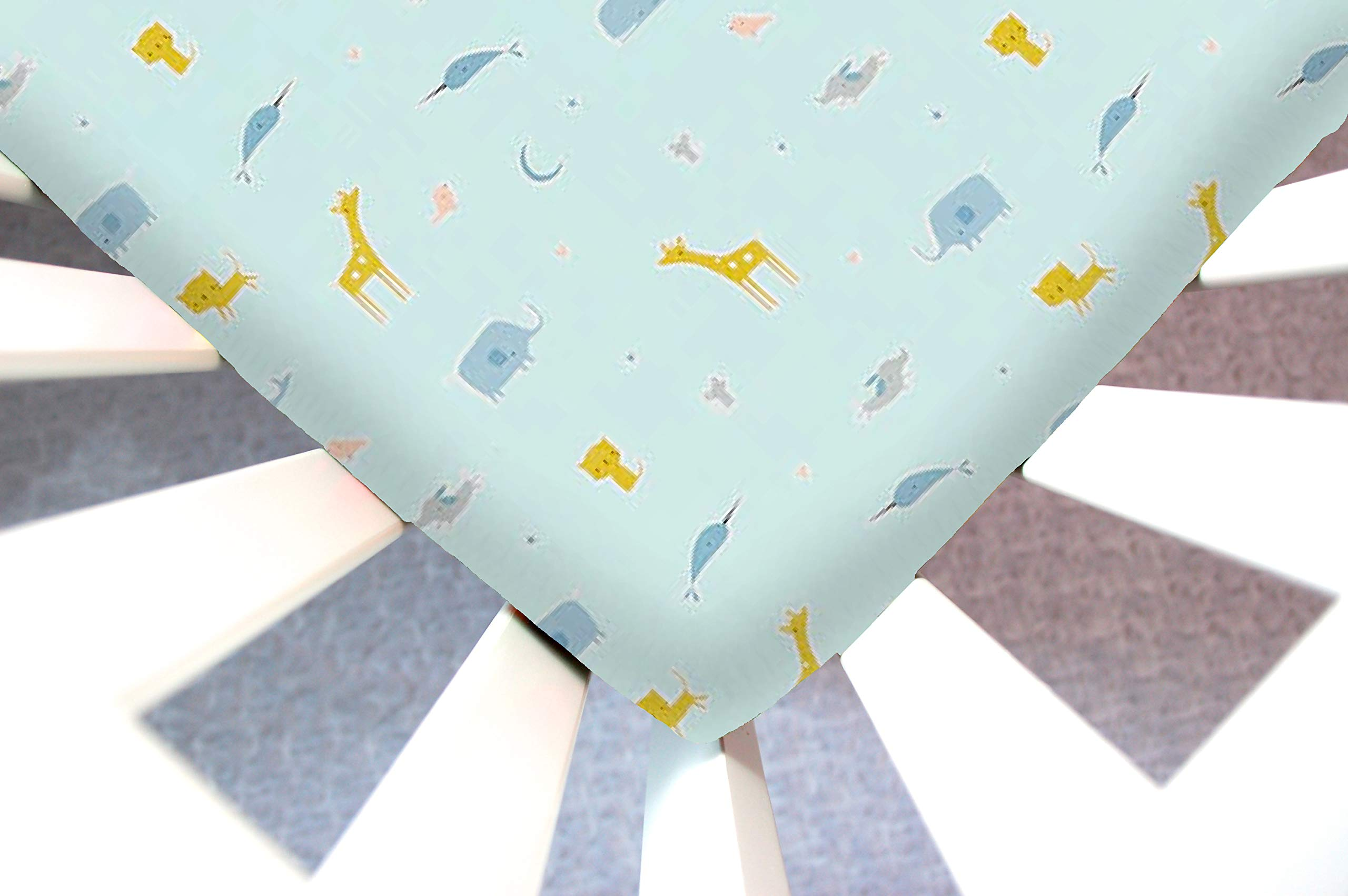 Little Moose by Liza Handmade Sheet Made to Fit 4Moms Play Yard Classic, Plus, or Go in Blue Animal Parade (Giraffe, Elephant, Cat, Dog). This Sheet was Not Created or Sold by 4Moms. by Little Moose By Liza LLC