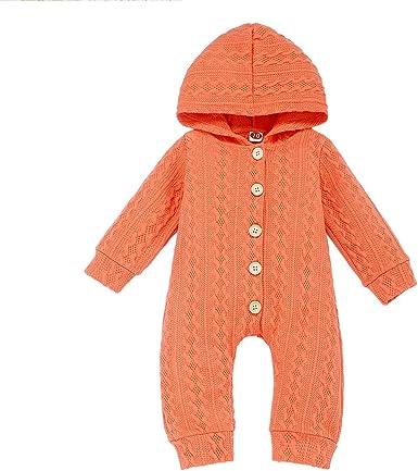 Newborn Baby Solid Long Sleeve Hooded Button Jumpsuit Warm Knit Outwear Romper