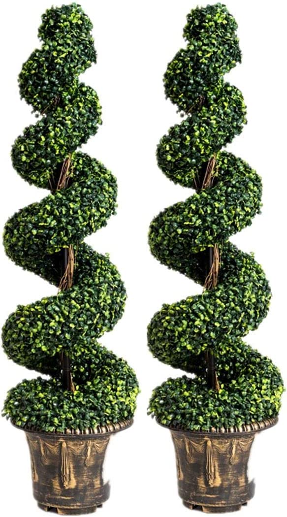 Goplus 4 Ft Artificial Boxwood Spiral Tree, Fake Greenery Plants, Leaves & Cement-Filled Plastic Flower Pot Decorative Trees for Home Office Indoor Outdoor (2)