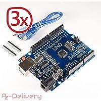 AZDelivery ⭐⭐⭐⭐⭐ 3 x UNO R3 mit USB-Kabel, 100% Arduino kompatibel mit gratis eBook!
