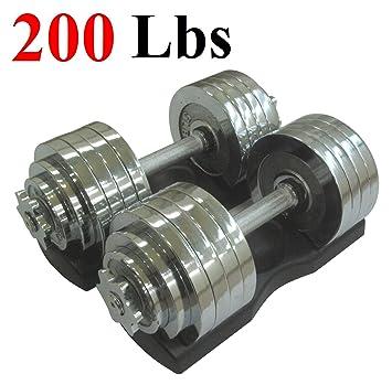 Un par de Mancuernas Ajustable Metal Cromado Total 200 kg (2 x 100 ...