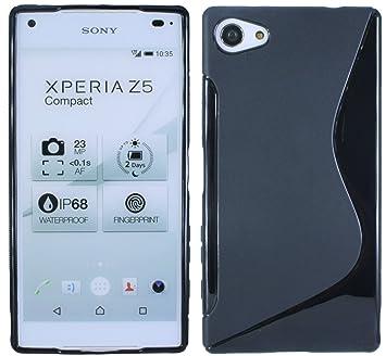 sale retailer 1cc6d b6c23 Sony Xperia E5823 Z5 Compact Silicone Case Black: Amazon.co.uk ...