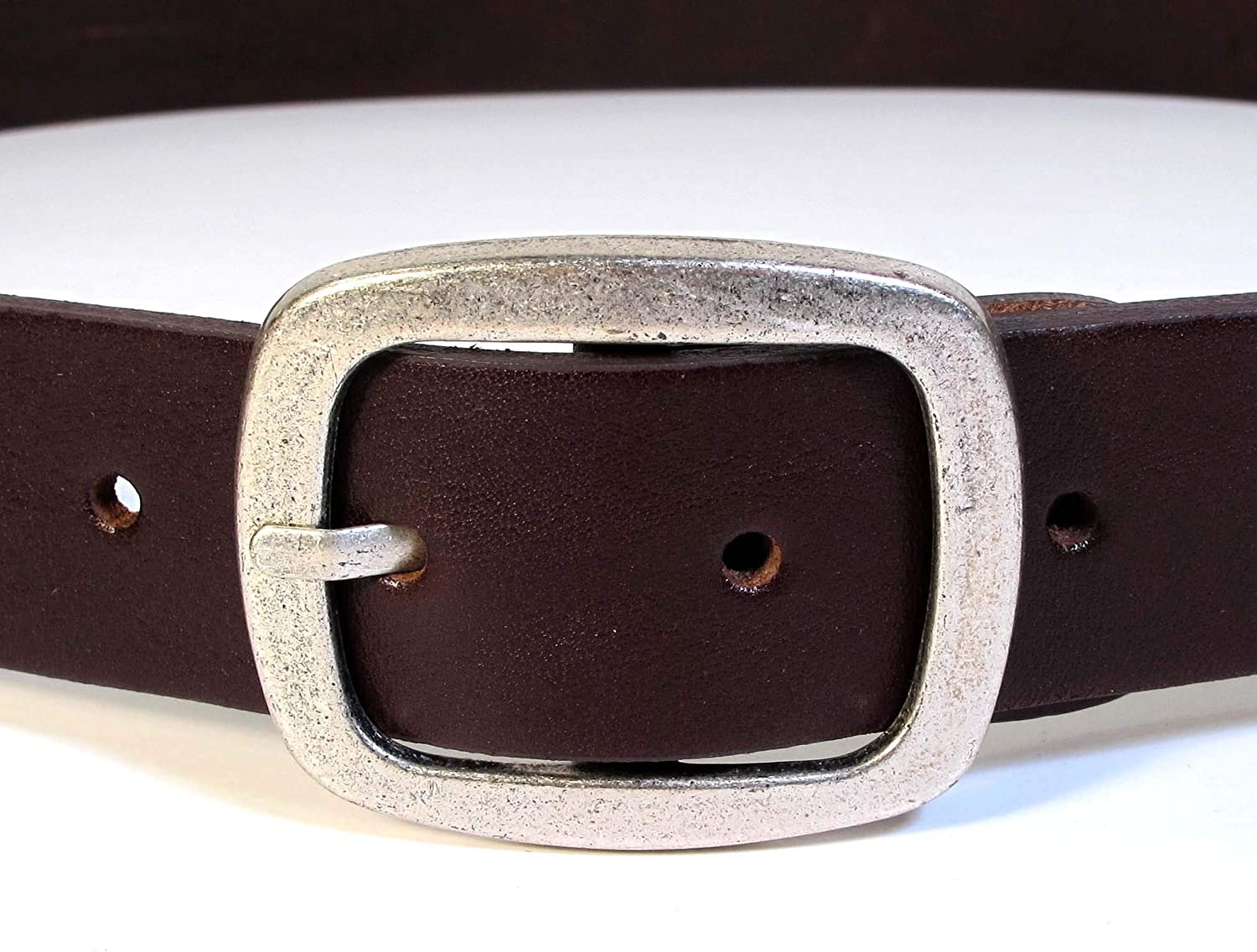 Mens Real Genuine Leather Dark Brown Belt 1.5 Wide S-XL Thick Casual Jeans CM0