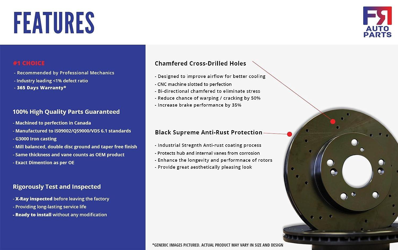 High-End Fits:- GX470 4Runner FJ Cruiser Sequoia 6lug 2 Black Coated Cross-Drilled Disc Brake Rotors Rear Rotors