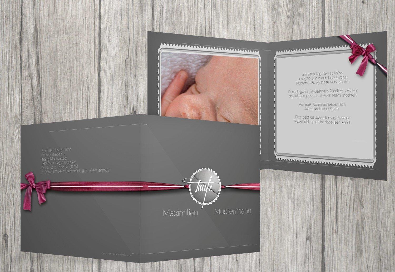 Kartenparadies Einladungskarte Taufeinladung Taufkarte Ribbon, hochwertige Einladung zur Taufe Taufe Taufe inklusive Umschläge   10 Karten - (Format  145x145 mm) Farbe  Rosalila B01MYE533S | Sehr gute Qualität  | Spielen Sie Leidenschaft, spielen Sie die Ernte, 899390