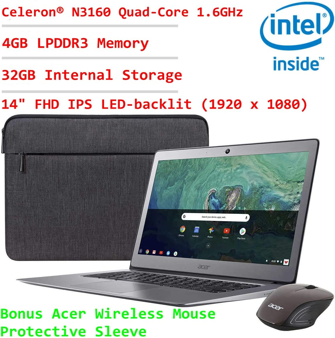 2019 Acer 14in FHD IPS Display Flagship Business Chromebook~Intel Celeron Quad-Core Processor Up to 2.24Ghz~4GB RAM~32GB SSD~HDMI~WiFi~Bluetooth~Chrome OS(Renewed) (Grey)