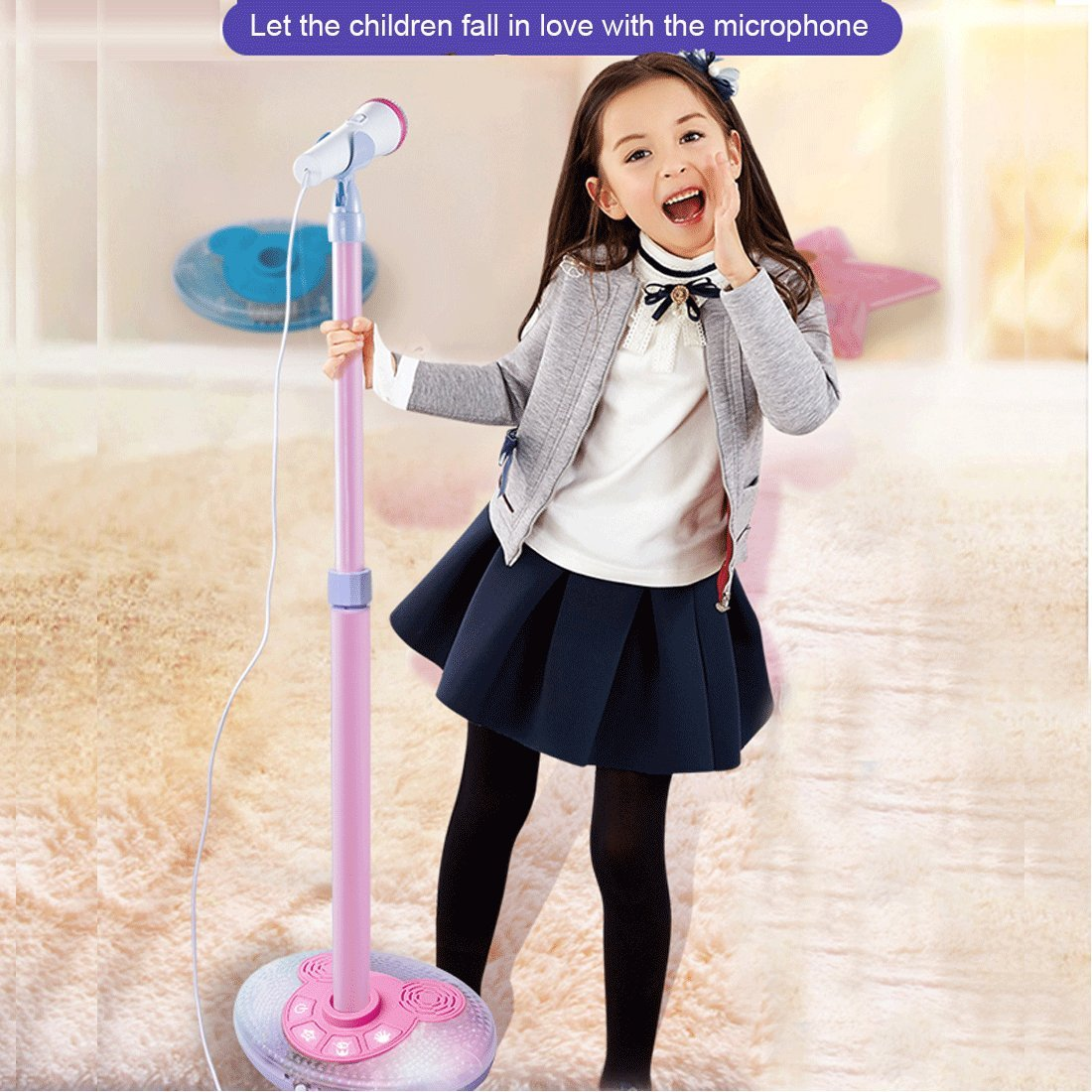 PeleusTech Childrens Karaoke Machines, Kids Karaoke Stand Microphone Adjustable Cool Music Microphone Toy with Light Effect - (Pink)